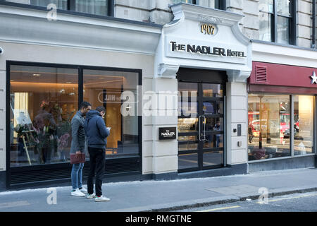 The entrance to the Nadler Hotel in Covent Garden, London, which opened in February 2019 - Stock Image