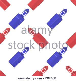 Background or pattern of red and blue electronic cigarettes. Vector illustration - Stock Image