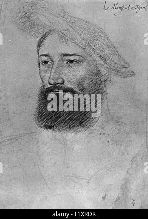 fine arts, Jean Clouet (1480 - 1541), drawing, Rene de Montjean, Marshal of France, portrait, 1528, Additional-Rights-Clearance-Info-Not-Available - Stock Image