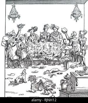 A woodcut engraving depicting a banquet. Dated 16th century - Stock Image