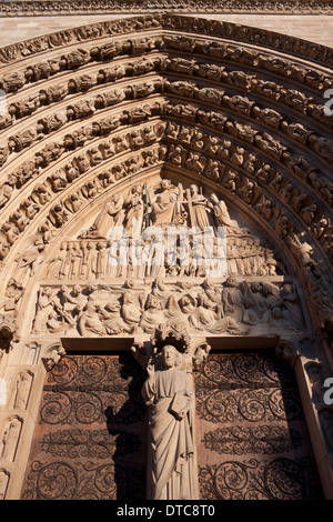 Portal of the Last Judgement, Notre Dame de Paris - Stock Image