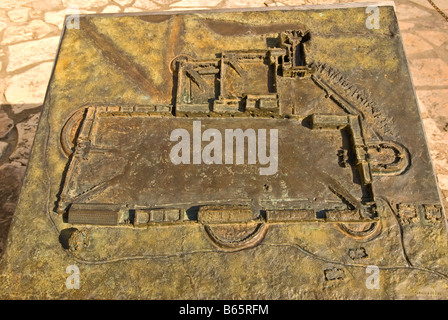 The Alamo mission layout architecture fort design fortifications national park service marker san antonio tx texas - Stock Image