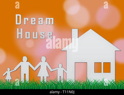 Dream House Or Dreamhouse Family Depicts Ideal Property For You. Dreaming About Luxury Home Or Apartment - 3d Illustration - Stock Image