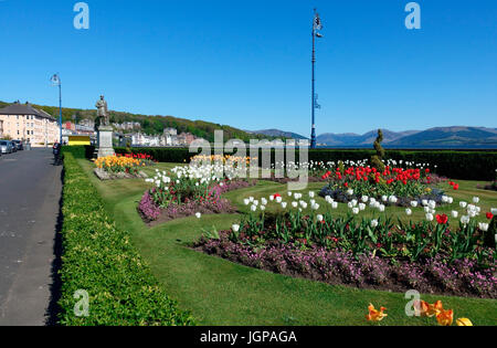 The Esplanade gardens on Rothesay sea front on the Isle of Bute, Scotland - Stock Image