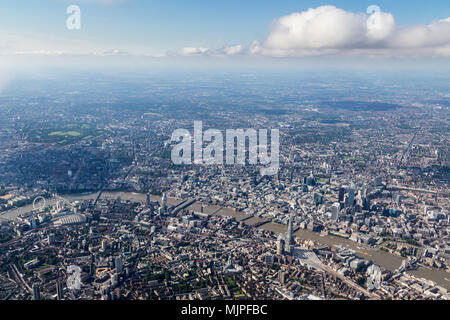 View of central London skyline looking North across the Thames - Stock Image