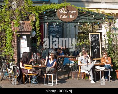 Cafe Uebersee Paul Lincke Ufer in Berlin Kreuzberg  - Stock Image