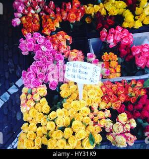 Various Flowers For Sale At Market Stall - Stock Image