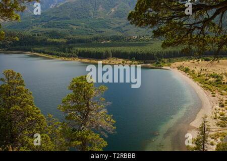 Filo Hua Hum Lake in National Park Lanís, Patagonia Argentina - Stock Image