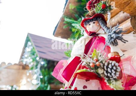 Brasov, Romania. Winter handmade decorations at the Christmas Market, Transylvania landmark. - Stock Image
