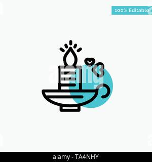 Candle, Love, Heart, Wedding turquoise highlight circle point Vector icon - Stock Image