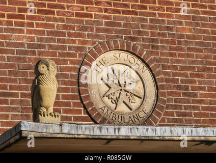 Sign at the St John Ambulance Centre in Sidmouth, Devon, due for redevelopment. - Stock Image