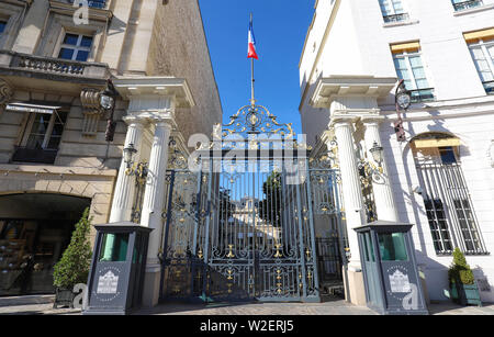 The entrance to the Ministry of the Interior in Place Beauvau in Paris, France. - Stock Image