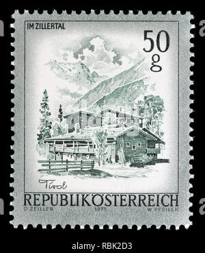 Austrian definitive postage stamp (1975) : Im Zillertal - Stock Image
