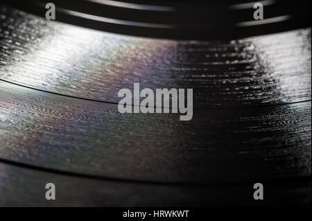 Vinyl record macro shot - Stock Image