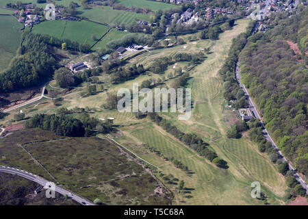 aerial view of Glossop & District Golf Club, Derbyshire SK13 - Stock Image