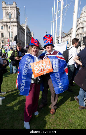 Protestors  demonstrating  against the delay to Brexit  on the day the UK should have left  the EU - Stock Image