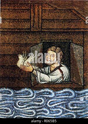 6347. Noah sending the dove,  detail from the 11th. C. mosaic at St. Mark's Basilica in Venice, Italy - Stock Image