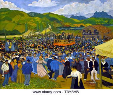 Village Festival 1908 by José Arrue born in1885 Basque Spanish painter - Stock Image