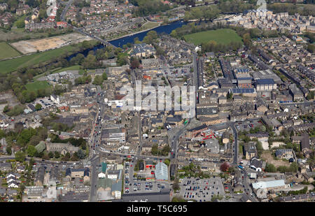 aerial view of Otley town centre, West Yorkshire - Stock Image