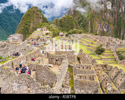 Aguascalientes, Peru - January 5, 2017. View of houses in the Machu Picchu citadel - Stock Image