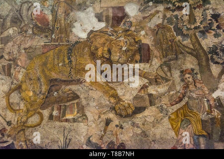 Lion Mosaic, National Archaeological Museum, Naples, Italy - Stock Image