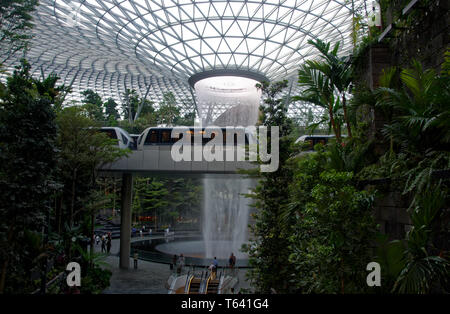 The world's biggest artificial indoor waterfall at the Jewel, Changi airport, Singapore, Asia - Stock Image