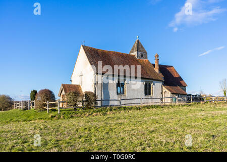 St Huberts Church in Idsworth in the Meon Valley, Hampshire, England, UK - Stock Image