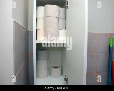 Rolls of toilet paper on shelfs close up - Stock Image