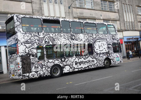 iconic Brighton & Hove double decker bus, painted by Jason McQuillen, Brighton United Kingdom - Stock Image