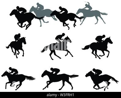 race horses and jockeys silhouettes collection - vector - Stock Image