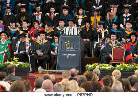 Professor John Last NUA Vice Chancellor gives speech at Norwich University of the Arts Graduation Day 2017, The Halls, Norwich, England, UK - Stock Image