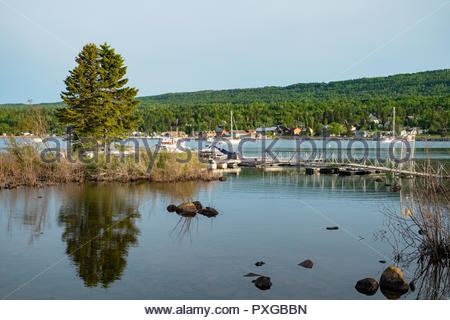 Boat dock and harbor at Grand Marais on the north shore of Lake Superior, Minnesota, USA. - Stock Image