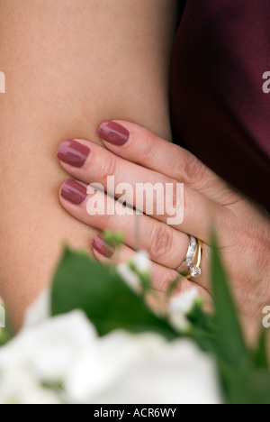 Weddning ring on a brides finger - Stock Image