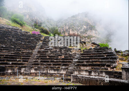 Delphi, Greece. In Greek mythology the site of the Delphic oracle. The ancient theatre. - Stock Image