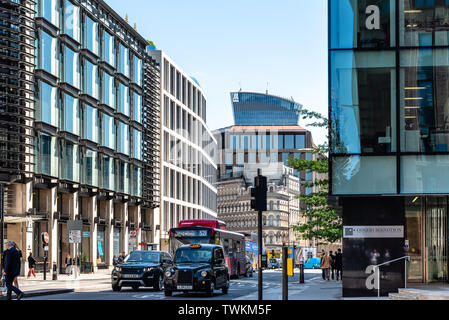 London, UK - May 14, 2019: Cannon Street in the city of London a sunny day - Stock Image