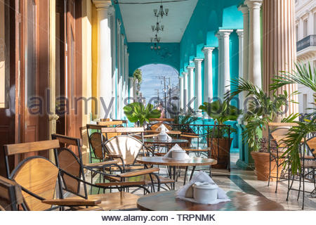 Colonial style architecture in the city center. The image is a point of view from the Hotel Central. The architecture has many columns and pastel colo - Stock Image
