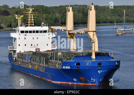General cargo vessel UBC Moin passing the Kiel Canal - Stock Image