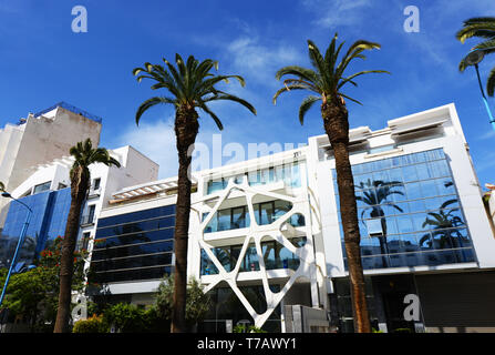 New modern buildings painted in the Iconic white color of Casablanca. - Stock Image