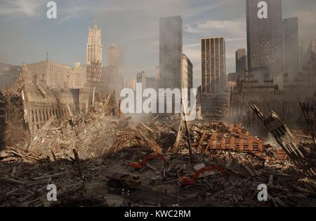 Wide view of the ruins of the World Trade Center complex in New York City, Sept. 18, 2001. At left is the pile and - Stock Image