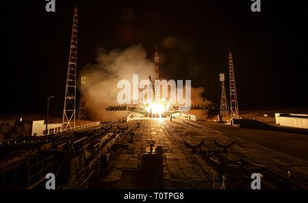 The Russian Soyuz MS-12 rocket blasts off from the Baikonur Cosmodrome March 15, 2019 in Baikonur, Kazakhstan. The Expedition 59 crew: Nick Hague and Christina Koch of NASA and Alexey Ovchinin of Roscosmos will launch March 14th for a six-and-a-half month mission on the International Space Station. - Stock Image