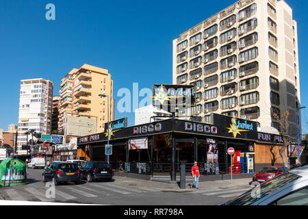 Benidorm, Costa Blanca, Spain, 25th February 2019. Two staff members at the Beachcomber pub in Benidorm New Town on the British square. Two British tourists have been arrested in relation to the alleged attack. Seen here is the Stardust Disco Pub which is not connected to the reported incident.  Credit: Mick Flynn/Alamy Live News - Stock Image