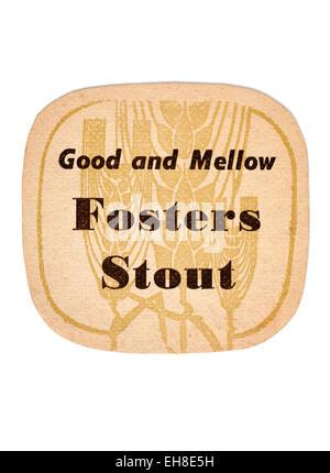 Vintage Beermat Advertising Fosters Stout Beer - Stock Image