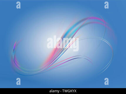 Bluish highlighted gradient background with abstract bright iridescent twisted wavy lines - Stock Image