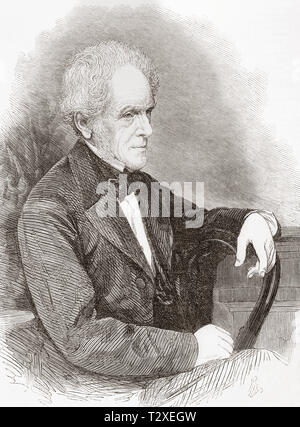 Isaac Taylor, 1787 – 1865. English philosophical and historical writer, artist, and inventor.  From The Illustrated London News, published 1865. - Stock Image