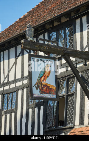 The Falcon Inn is a medieval building in the middle of Stratford upon Avon, England. - Stock Image