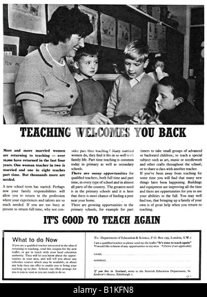 1965 Magazine Advertisement to encourage married women qualified teachers to return to teaching  FOR EDITORIAL USE - Stock Image