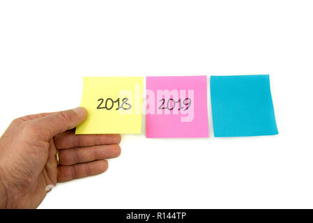 Concept for turn of the year, three post it with three years : 2017 2018 2019 - Stock Image