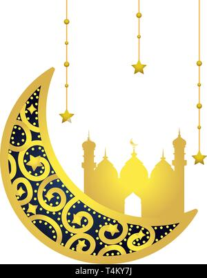 waning moon with islamic building and star icon cartoon vector illustration graphic design - Stock Image