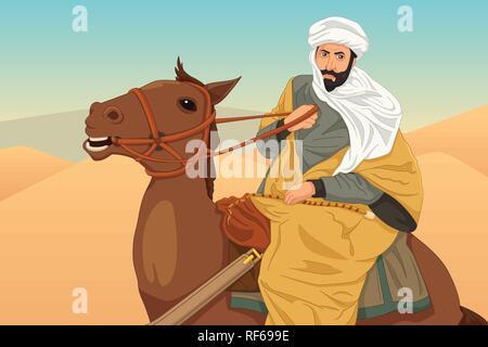 A vector illustration of Ibn Battuta Riding a Horse - Stock Image