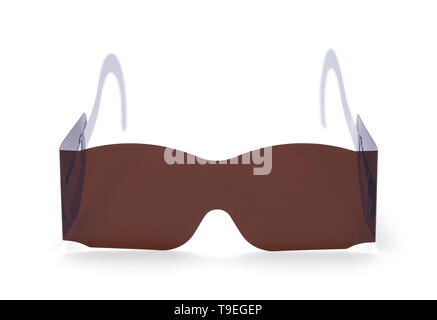 Eye Exam Medical Sunglasses Isolated on White. - Stock Image